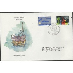 O) 1981 MALAYSIA, OIL, ENERGY PRODUCTION, PLATFORM, FDC USED TO CHICAGO, XF
