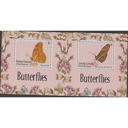 o) 2013 GRENADA - PETIT AND MARTINIQUE, BUTTERFLIES, SOUVENIR FOR 2, MNH