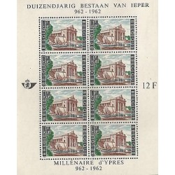 E)1962 BEGIUM, MILLENARY ANNIVERSARY OF YPRES CITY, BLOCK OF 8, S/S, MNH
