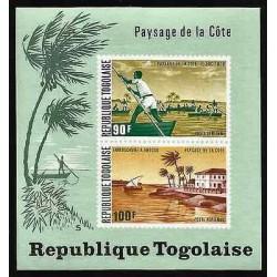 E)1974 TOGO, COASTAL VIEW TYPE, FISHERMAN ON LAKE TOGO, MOUTH OF ANECHO RIVER