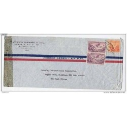 RG)1943 CARIBE, VICTORY-AIRPLANE IN PAIR, AIR MAIL, CIRCULATED COVER TO N.Y.,