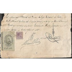 E)1884 SPAIN, MOBILE RING, VIOLET AND REVENUE DOCUMENT XF