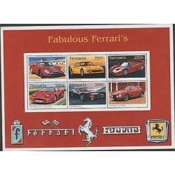 O) 1996 TANZANIA, SPORTS CARS - RACE CARS, FERRARI, SOUVENIR MNH