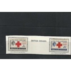 O) 1963 BRITISH GUIANA, RED CROSS CENTENARY 1863 TO 1963, QUEEN ELIZABETH II,