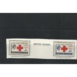 O) 1963 BRITISH GUIANA, RED CROSS CENTENARY 1863 TO 1963, QUEEN ELIZABETH II,