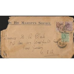E)1925 BRITISH GUIANA, 1C, 2C & 4C, GEROGE V, CIRCULATED FRONT COVER TO USA, F