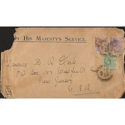 E)1925 BRITISH GUIANA, 1C, 2C & 4C, GEROGE V, CIRCULATED FRONT COVER TO USA, F