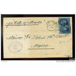 RB)1880 USA, MARITIME MAIL, CIRCULATED COVER TO MEXICO, SHIP CITY OF MERIDA, XF