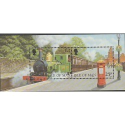 O) 1998 ISLE OF MAN, TRAIN - LOCOMOTIVE, MAILBOX, PAINTING, SOUVENIR MNH
