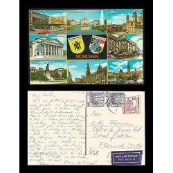 E)1979 GERMANY, SHIELDS, CITIES, HERITAGE OF GERMANY, POSTCARD TO USA