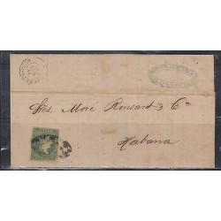 o) 1864 PUERTO RICO, SPANISH DOMINION, 1 REAL PLATA GREEN - ISABEL II, COVER TO