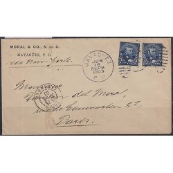 O) 1903 PUERTO RICO, US OCCUPATION IN PUERTO RICO, MAYAGUEZ, 5 CENTS BLUE, COVER