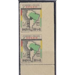 E) 1943 BRAZIL, MAP BRAZIL AND SOUTH AMERICA, IMPERFORATE PAIR, RIGHT MARGIN