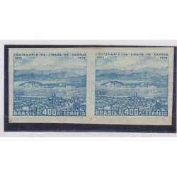 E) 1930 BRAZIL, SANTOS PORT, IMPERFORATE HORIZONTAL PAIR, WHERE BRAZILIAN