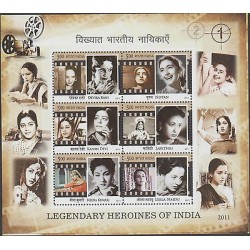 rO) 2011 INDIA, PRESONALITIES, LEGENDARY HEROINES OF INDIA, TAPES, SOUVENIR MNH