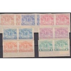 O) 1951 PARAGUAY,PROOF FARO DE COLON,IMPERFORATE PAIR, MONUMENT AND MUSEUM TRIBU
