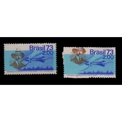 E) 1973 BRAZIL, SANTOS DUMONT ERROR IN BLUE XFMNH