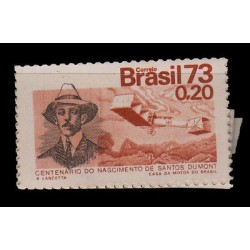 E) 1973 BRAZIL, SANTOS DUMONT PROOF IN ORANGE XF MNH