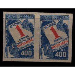 E) 1940 BRAZIL, SUNDAY FREE DAY, 1ST SEPTEMBER IMPERFORATE PAIR MNH