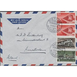 O) 1947 SWITZERLAND, TRAINS 1847, TRAINS TO 1947, COVER TO AMSTERDAM, XF
