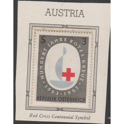 O) 1963 AUSTRIA, RED CROSS CENTENNIAL SYMBOL, MNH