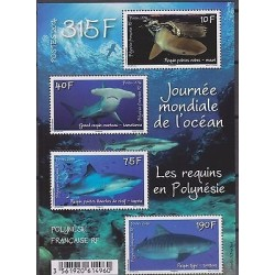 O) 2014 FRENCH POLYNESIA, WORLD OCEANO DAY, SELACHIMORPHA - SHARKS, MNH