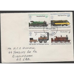 O) 1975 UNITED KINGDOM, OLD TRAIN ,MODERN TRAIN, COVER TO BIRMINCHAM, XF