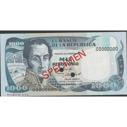 O) 1984 COLOMBIA, BANK NOTE, 1000 PESOS ORO, SPECIMEN, NUMBER 00000000, XF