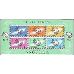 E)1974 ANGUILLA, UPU CENTENARY, CARIBBEAN SEA, MAP, PEOPLE, BLOCK OF 6, MNH