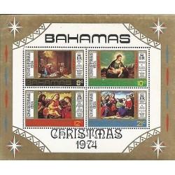 E)1974 BAHAMAS, CHRISTMAS, NATIVITY, PAINTINGS, BLOCK OF 4, MNH