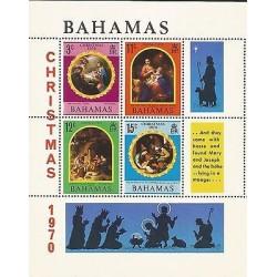 E)1970 BAHAMAS, CHRISTMAS, PAINTINGS, COLORS, SOUVENIR SHEET, MNH