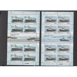 O) 2014 RUSSIA, NAVAL SHIPS, MINI SHEETS, SET MNH