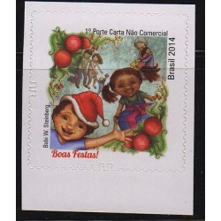 E) 2014 BRAZIL, HAPPY HOLIDAYS, CHRISTMAS TIME, SINGLE, MNH