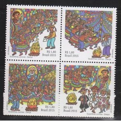 E) 2015 BRAZIL, DANCE, TRADITION, CULTURE, FOLKLORE, BLOCK OF 4