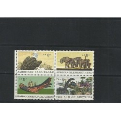 O) 1970 UNITED STATES - USA, DINOSAURS - THE AGE OF REPTILES, EAGLE, ELEPHANT, H