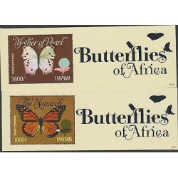 O) 2011 TANZANIA, BUTTERFLIES, TREE, SOUVENIR FOR 2, MNH