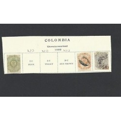 O) 1859 COLOMBIA, 2 1/2 GREEN, 10 CENT. BUFF, 20 CENT GRAY BLUE, WOVE PAPER