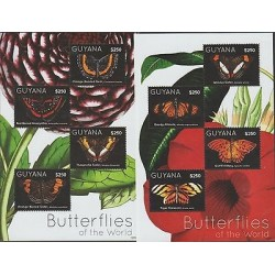O) 2012 GUYANA, BUTTERFLIES, OF THE WORLD, FLOWERS, SOUVENIR FOR 2, MNH