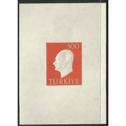 B)1959 TURKEY, KEMAL ATATURK, MINISHEETOF 1 RED IMPERFORATED, MNH