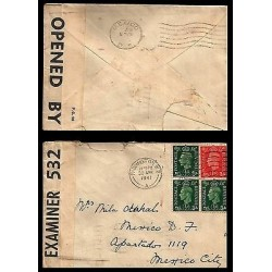 E)1941 GREAT BRITAN, KING GEORGE VI, WAR CENSORSHIP, STRIP OF 4, CIRCULATED COVE