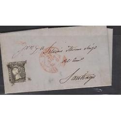 O) 1840 SPAIN, QUEEN ISABEL II - 6 CUARTOS FRANCO, 1 SPIDER BLACK, CANCELLATION