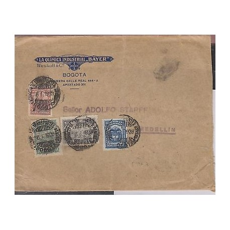 O) 1928 COLOMBIA, SCADTA BOGOTA, BAYER QUEMICAL INDUSTRIES, COVER TO MEDELLIN