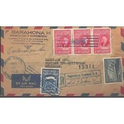 O) 1953 HONDURAS, PRESIDENT DR. JUAN MANUEL GALVEZ, COVER TO HOLLAND, XF