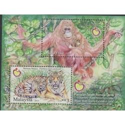 O) 2014 MALAYSIA, ORANGUTAN, PHANTERA TIGRIS, SOUVENIR MNH
