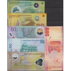 O) 2012 NICARAGUA, FULLSET BANK NOTES UNC, 10, 20 AND 50 ARE POL