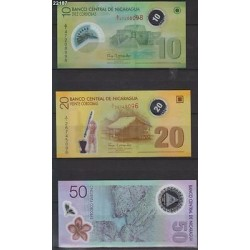 O) 2012 NICARAGUA, BANKNOTES, SHORT SET UNC 10, 20 AND 50 ARE XF PRISTINE CONDIT