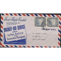 o) 1950 BOLIVIA, FRIST FLIGHT CACHET, LA PAZ AND ASUNCION PARAGUAY, XF
