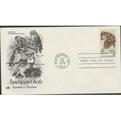 O) 1978 UNITED STATES, OWLS, BIRDS,SYMBOLS OF WISDOM, AMERICAN OWLS, FDC XF