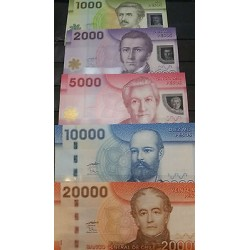 O) 2009 TO 2012 CHILE, BANKNOTE-POLYMER, 1000, 2000, 5000, 10000, 20000,COMPLET