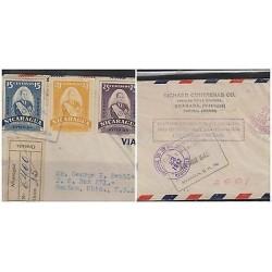 O) 1942 NICARAGUA, PRESIDENT ANASTASIO SOMOZA, REGISTERED, POSTAGE STAMPS FOR CO
